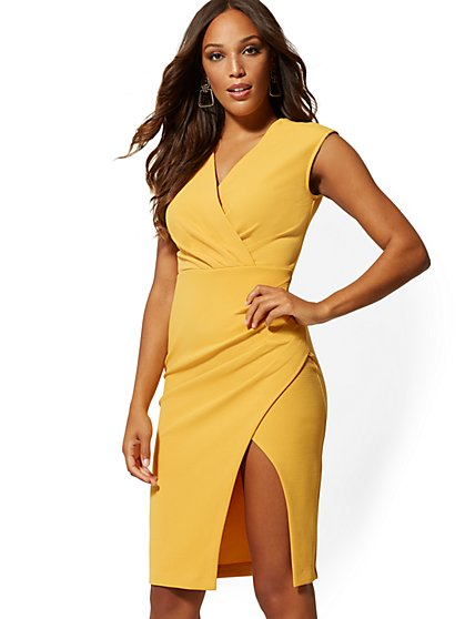 V-Neck Wrap Sheath Dress - New York & Company