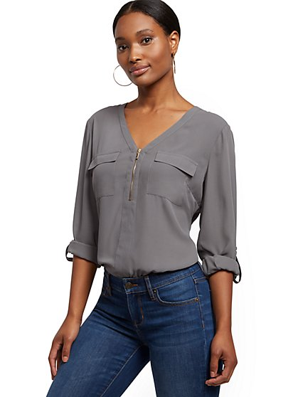 V-Neck Zip-Front Top - New York & Company