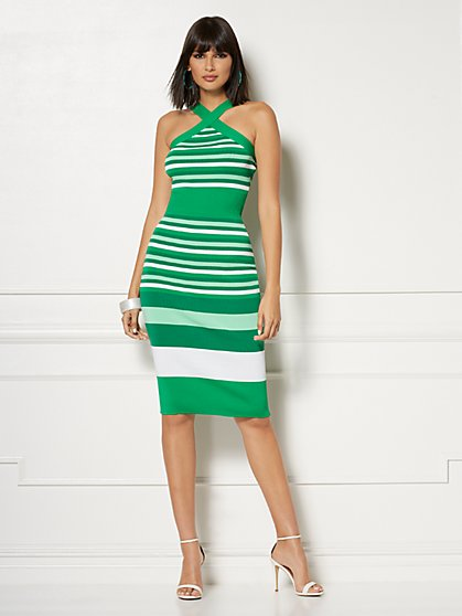 f6f9589485 Vivica Stripe Halter Sweater Dress - Eva Mendes Collection - New York    Company ...