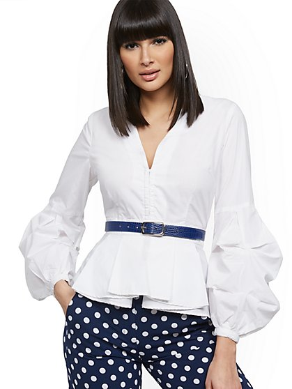 White Balloon-Sleeve Poplin Shirt - New York & Company