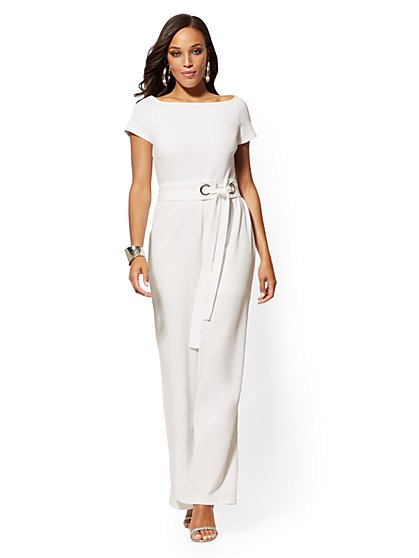 White Belted Jumpsuit - New York & Company