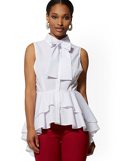 White Bow-Accent Peplum Poplin Shirt - New York & Company