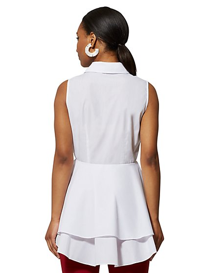 97d59c901b4b ... White Bow-Accent Peplum Poplin Shirt - New York & Company ...