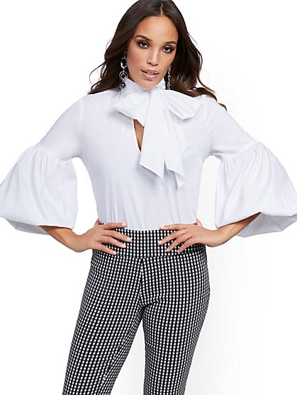 White Bow-Accent Poplin Shirt - 7th Avenue - New York & Company