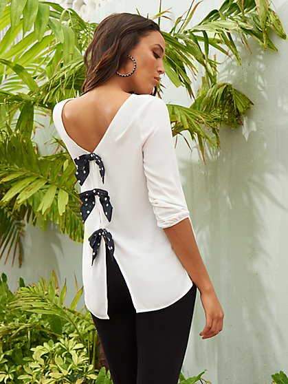 White Bow-Back Blouse - Sweet Pea - New York & Company