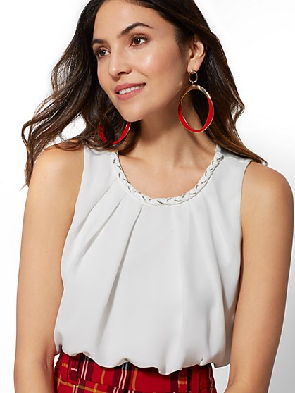 White Braided-Trim Pleated Top - New York & Company
