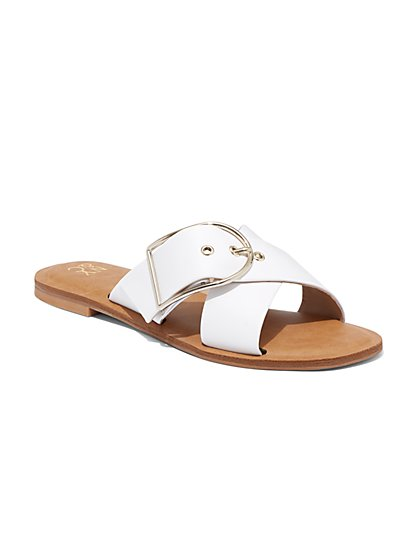 White Buckle Slide Sandal - New York & Company