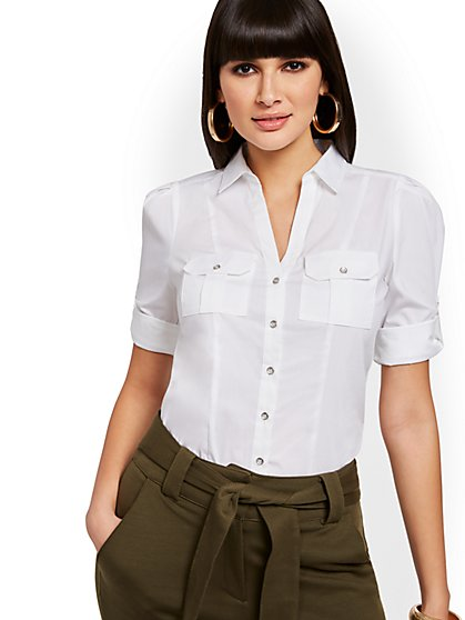 White Button-Accent Utility Shirt - 7th Avenue - New York & Company