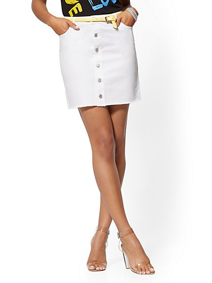 White Button-Front Skirt - Soho Jeans - New York & Company