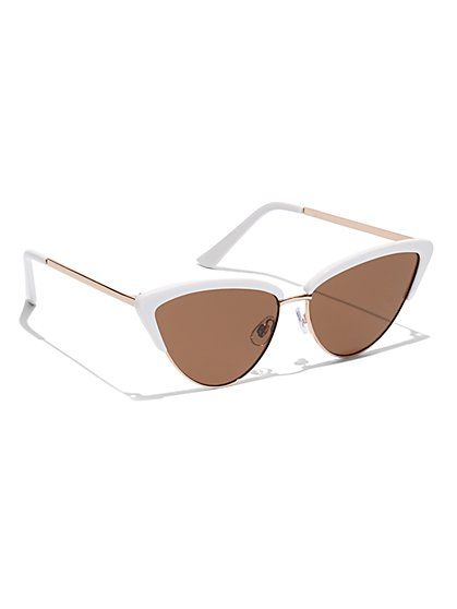White Cat-Eye Sunglasses - New York & Company