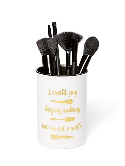 White Ceramic Makeup Brush Holder - New York & Company