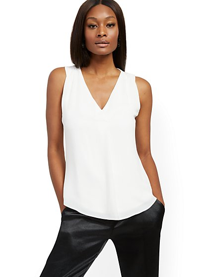White Chiffon-Overlay Sleeveless Top - New York & Company