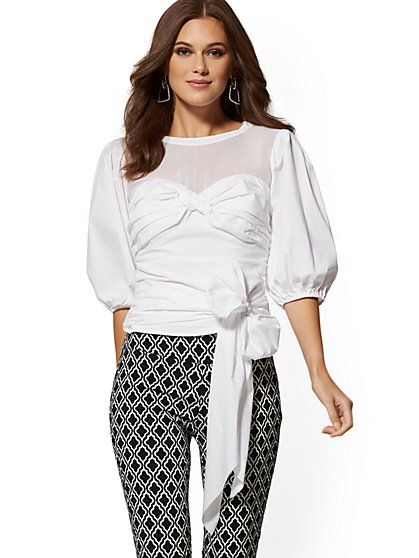 White Chiffon & Poplin Blouse - New York & Company