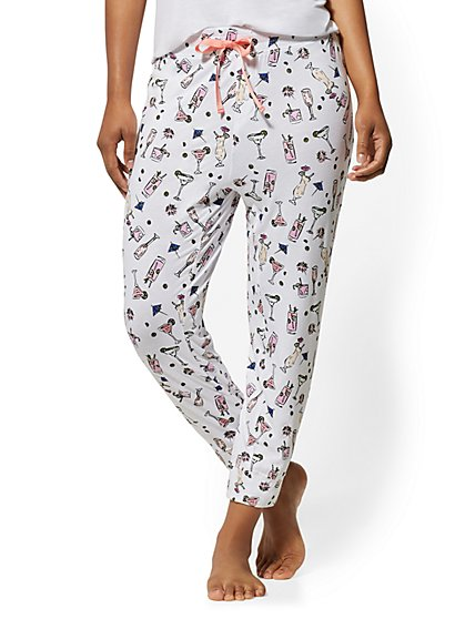 White Cocktail-Print Pajama Pant - New York & Company