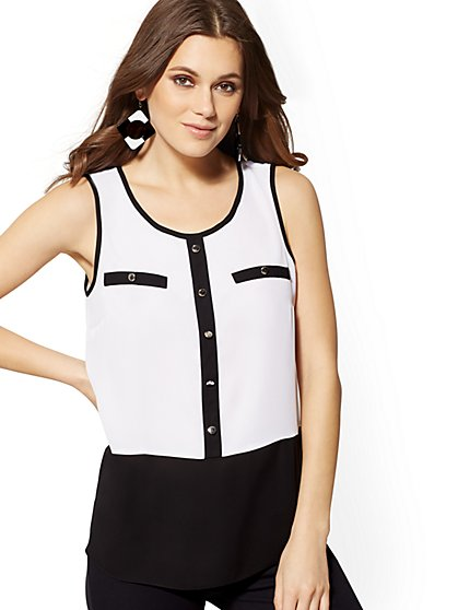 White Contrast-Trim Sleeveless Top - New York & Company