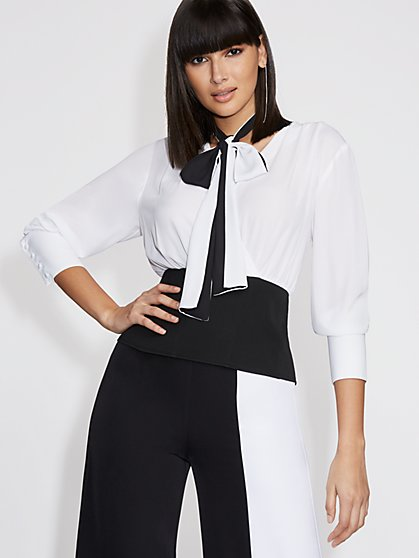 White Corset Wrap Blouse - Gabrielle Union Collection - New York & Company