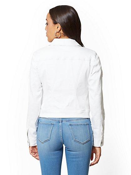 64cc257cfa40e ... White Crochet-Detail Denim Jacket - Soho Jeans - New York & Company