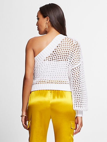 f1e9719ce7 ... White Crochet One-Shoulder Sweater - Gabrielle Union Collection - New  York   Company