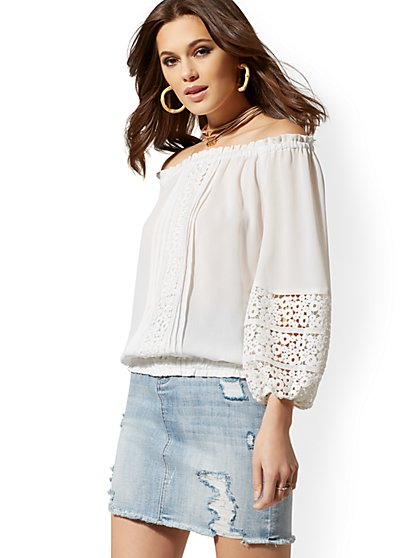 cbae29b9368608 White Crochet-Trim Off-The-Shoulder Blouse - Lily   Cali
