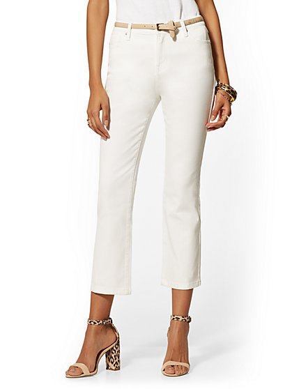 White Crop Kick Flare Jeans - New York & Company