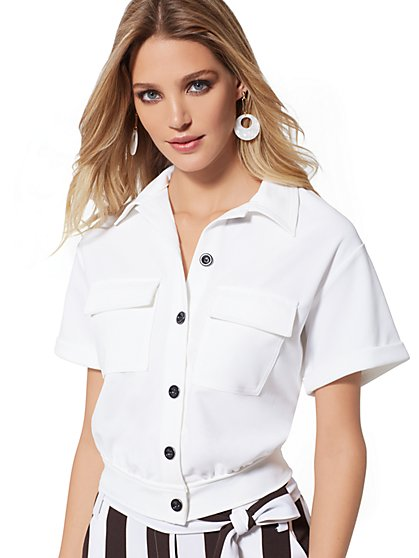 White Crop Safari Top - 7th Avenue - New York & Company