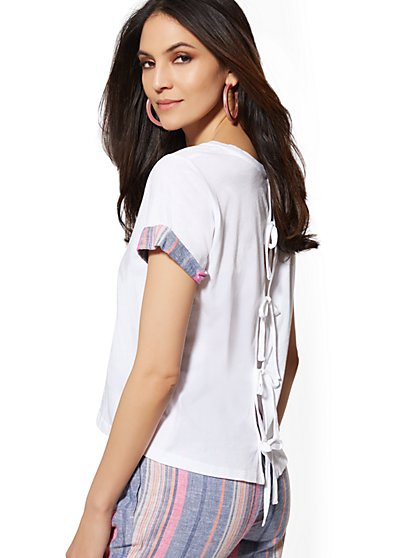 White Cuffed Tie-Back Tee - New York & Company