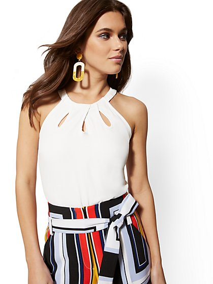 White Cutout-Detail Halter Top - 7th Avenue - New York & Company
