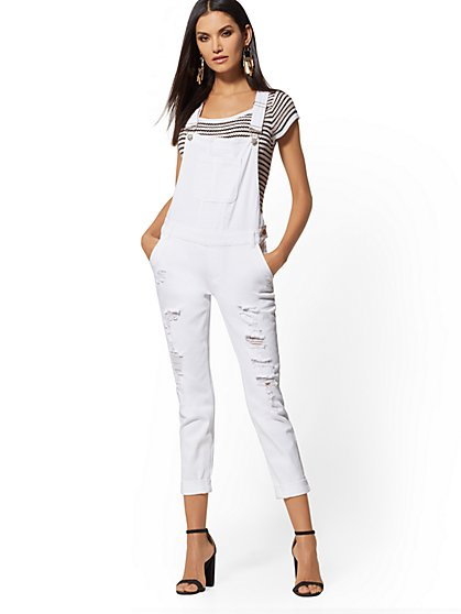White Destroyed Boyfriend Overall - Soho Jeans - New York & Company