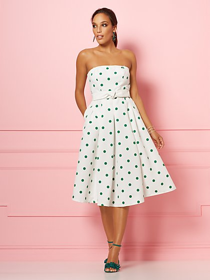 White Dot-Print Del Mar Dress - Eva Mendes Party Collection - New York & Company