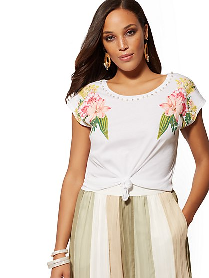 White Embellished Floral Cotton Tee - New York & Company