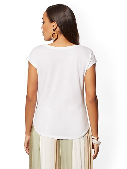 9fc04f9b9c525 ... White Embellished Floral Cotton Tee - New York   Company