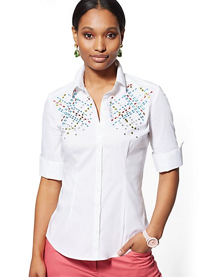 White Embellished Madison Stretch Shirt - 7th Avenue - New York & Company
