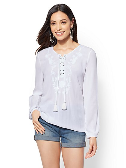 White Embroidered Peasant Blouse - New York & Company