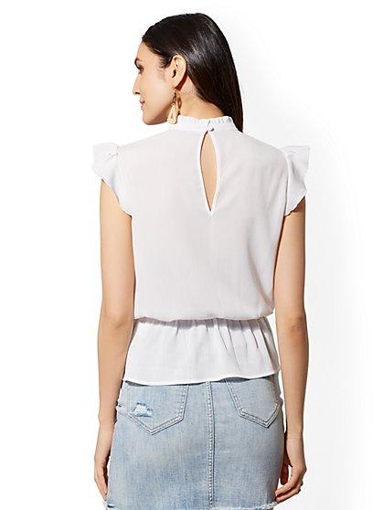 ... White Embroidered Peplum Top - New York & Company ...