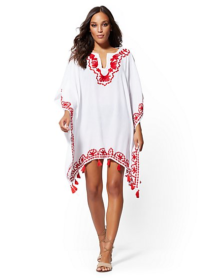 White Embroidered Tassel-Trim Coverup - NY&C Swimwear - New York & Company