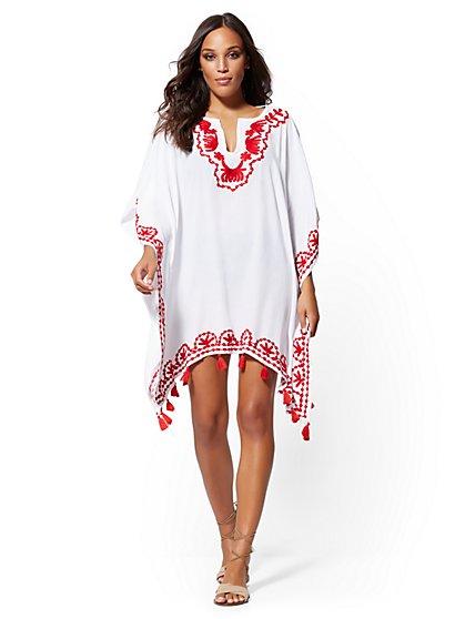 8ddcc68325023 White Embroidered Tassel-Trim Coverup - NY&C Swimwear - New York & Company  ...