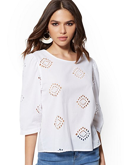 White Eyelet Button-Back Shirt - New York & Company
