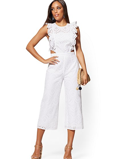 White Eyelet Cutout Jumpsuit - New York & Company