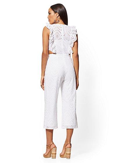 0bf6ecc81c02 ... White Eyelet Cutout Jumpsuit - New York & Company