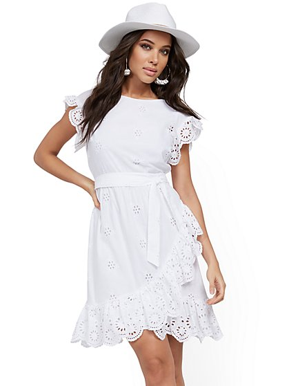 White Eyelet Fit and Flare Dress - New York & Company
