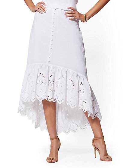 White Eyelet Hi-Lo Skirt - New York & Company