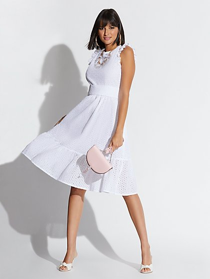 White Eyelet Ruffled Flare Dress - New York & Company