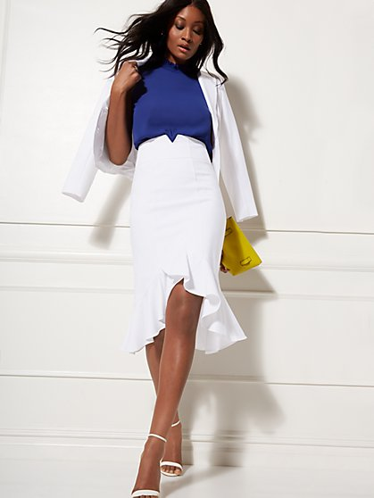 White Fit and Flare Skirt - All-Season Stretch - 7th Avenue - New York & Company