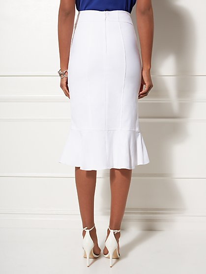 aab064471 ... White Fit and Flare Skirt - All-Season Stretch - 7th Avenue - New York  ...