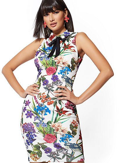 White Floral Bow-Accent Sheath Dress - New York & Company
