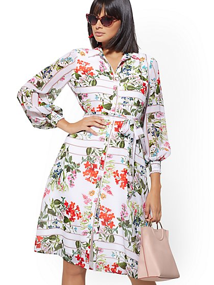 920611288bc2 White Floral Chiffon Shirtdress - New York   Company ...