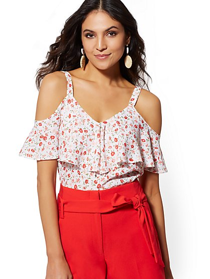 White Floral Cold-Shoulder Blouse - New York & Company