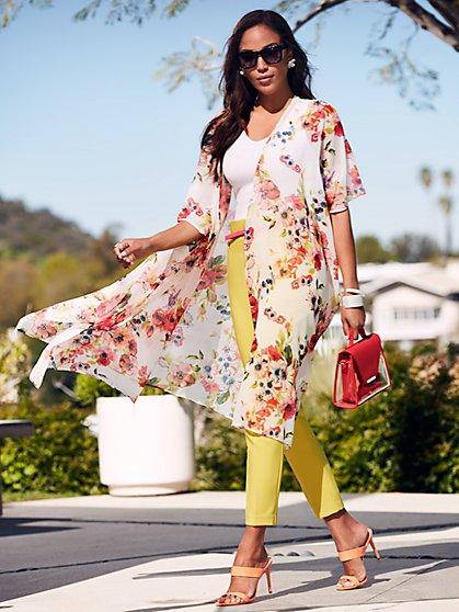 092d48b22e895 White Floral Kimono Duster - Sweet Pea - New York   Company ...