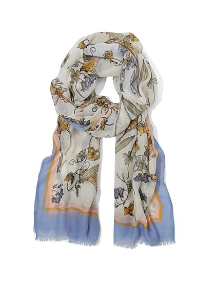 White Floral Scarf - New York & Company