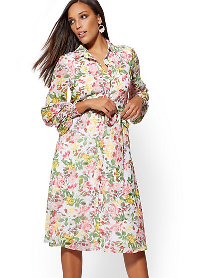 White Floral Shirtdress - New York & Company